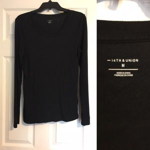 EUC, 14th & Union fitted black long sleeve